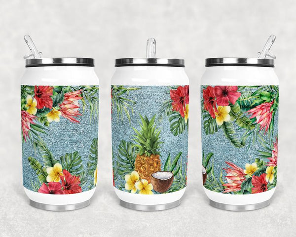 Sublimation print (ONLY) - Pineapple tropical  can cup - Can cup print