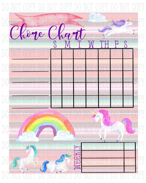 Sublimation print - Unicorn Chore charts  - Made for our MDF sublimation boards