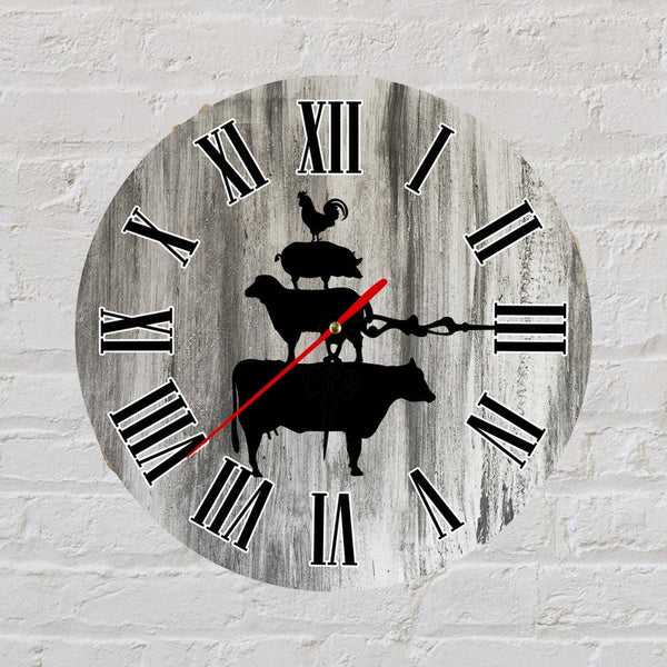 Sublimation print (ONLY) - Farm animal Clock - Time spent with family is worth every second - Made for our sublimation blanks