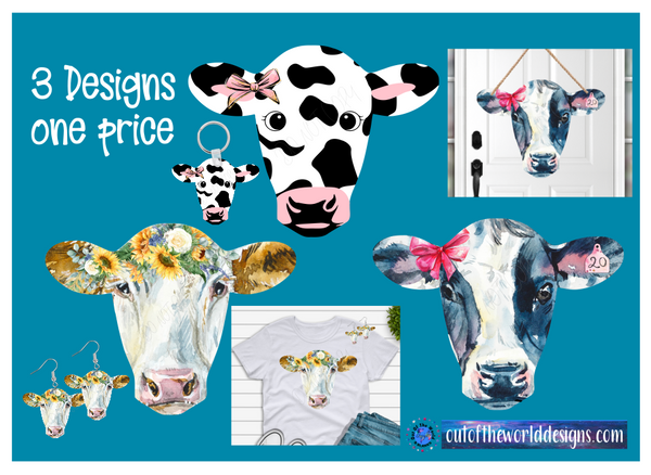 Digital download - 3pc bundle - Cow head designs  - made for our sub blanks