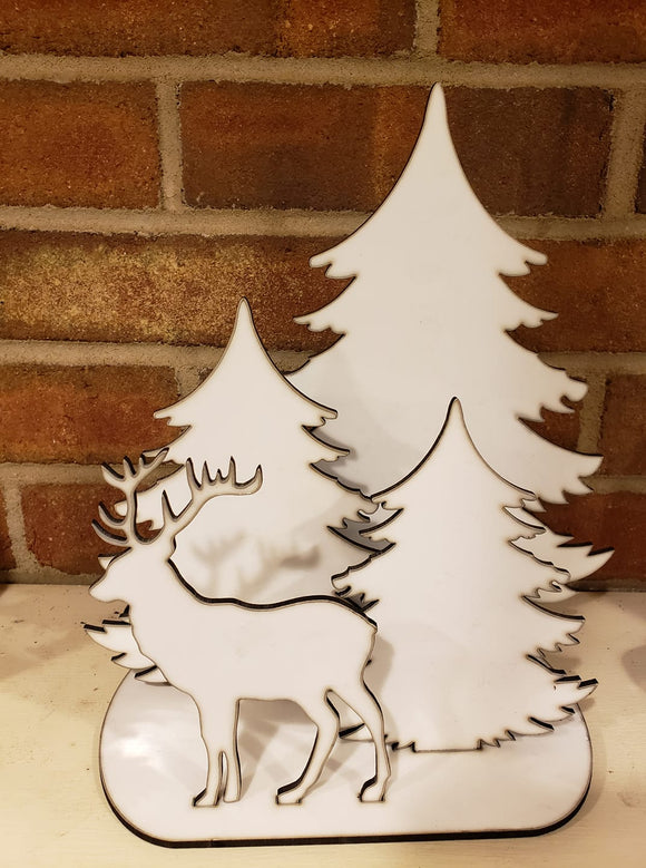 Table top Deer with 3 Trees ( 5pc set )