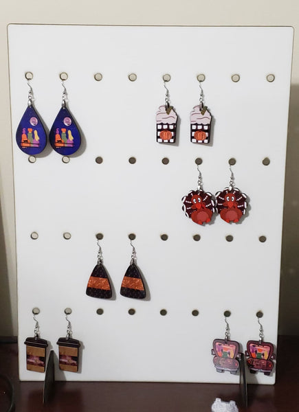 Earring display stand holds 32 pairs of earrings -  Sublimation Blank  - 1 sided  or 2 sided options