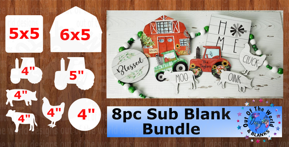 8pc Farm Bundle NO holes - Sublimation Blanks