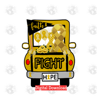Gold Cancer Fight Truck (Instant Print) Digital Download