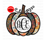 Monogram pumpkin add your own monogram (Instant Print) Digital Download