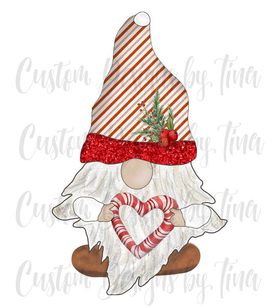 Sublimation print - Candy cane gnome - Made for our MDF sublimation blanks