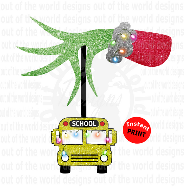 School Bus With Lights (Instant Print) Digital Download