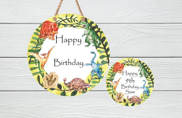 Sublimation print - Happy Birthday Dinosaur  - Made for our MDF sublimation rounds