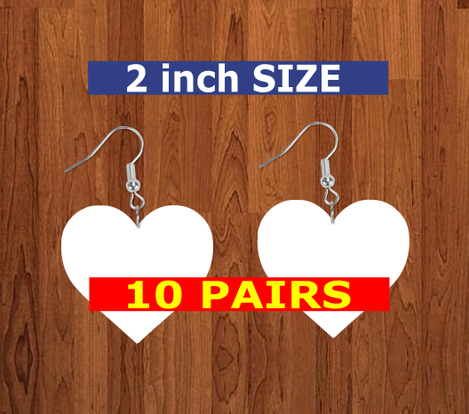 Heart earrings size 2 inch - BULK PURCHASE 10pair