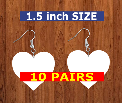 Heart earrings size 1.5inch - BULK PURCHASE 10pair