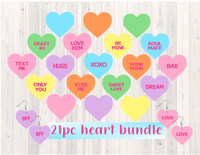 (Instant Print) Digital Download - 21pc Hearts with words - Made for our  blanks