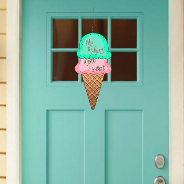 Sublimation print - (14 different sizes)  Life is short make it sweet ice cream cone - Made for our MDF sublimation blanks