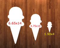Ice cream cone without holes - Wall Hanger - 3 sizes to choose from -  Sublimation Blank  - 1 sided  or 2 sided options