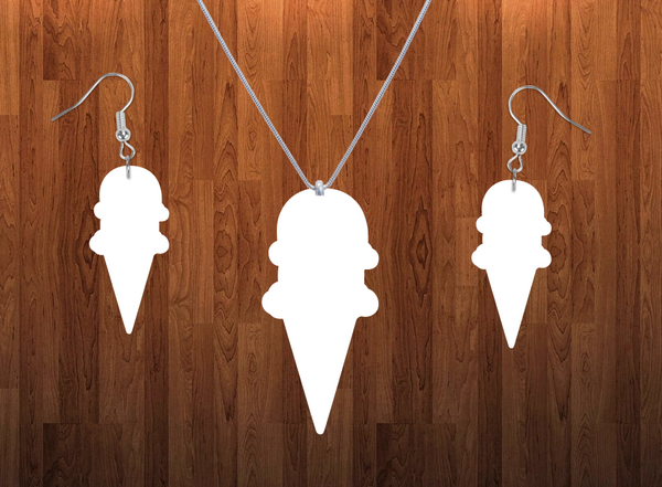 Ice cream cone necklace sets- you get 10 sets - BULK PURCHASE 10pair earrings and 10pc necklace