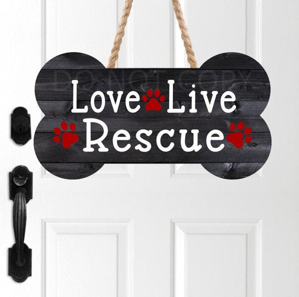 Sublimation print - Love live rescue dog bone - Made for our MDF sublimation blanks