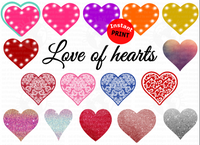 Love of hearts / Bundle set of 16 pc / You get all 16 for one price  (Instant Print) Digital Download