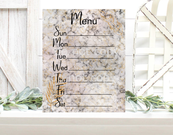 Sublimation print - Marble Menu Board - Made for our MDF sublimation blanks
