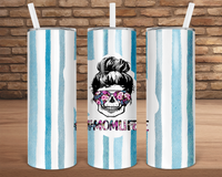(Instant Print) Digital Download - Skull Momlife    - 20oz skinny tapered tumbler wrap