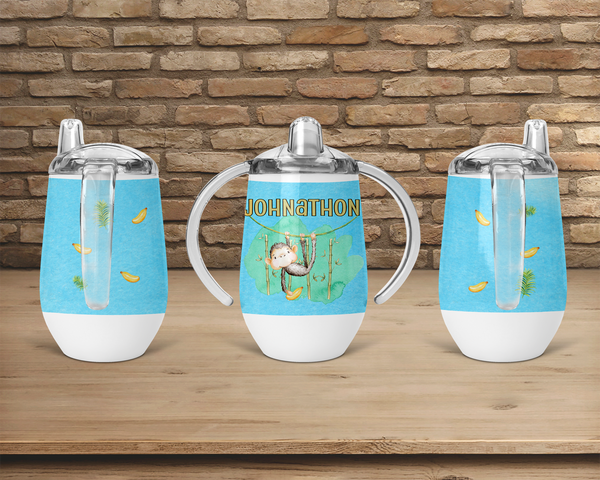(Instant Print) Digital Download - Personalize your sippy cup monkey Designs , made for our sippy cups