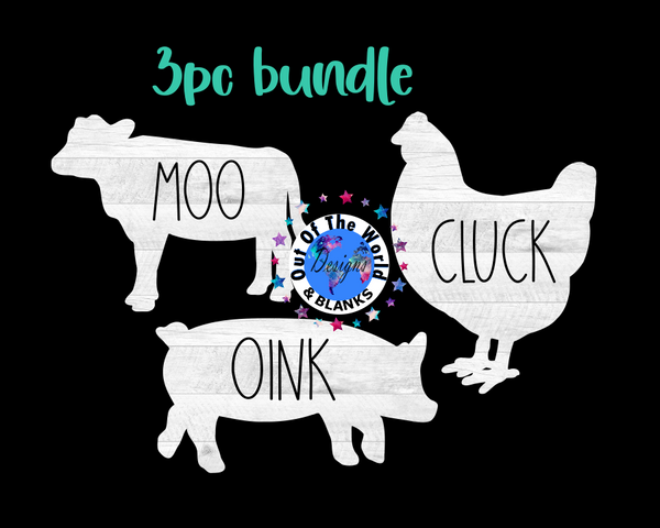 Digital download - 3pc bundle - moo - cluck - oink set  - made for our sub blanks