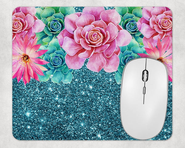 Sublimation Print (ONLY) - Floral and glitter  Mouse Pad - Made for our square mouse pads