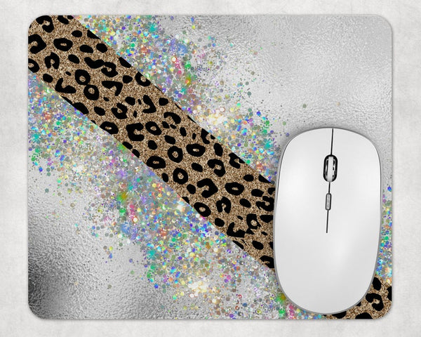Sublimation Print (ONLY) - Cheetah and glitter Mouse Pad - Made for our square mouse pads