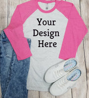 Nextlevel Raglan Pink Mockup (Instant Print) Digital Download