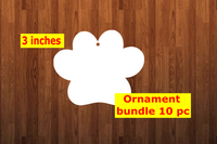 Dog paw shape 10pc or 25 pc Ornament Bundle Price