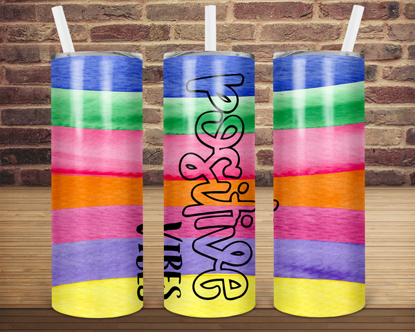 (Instant Print) Digital Download -  Positive vibes  - 20oz skinny tapered tumbler wrap