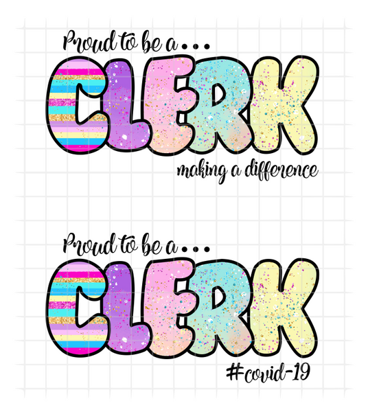 (Instant Print) Digital Download - Proud to be a clerk (bundle of 2pc)