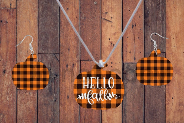 Sublimation print - (14 different sizes) - Hello fall plaid pumpkin  - Made for our MDF sublimation blanks