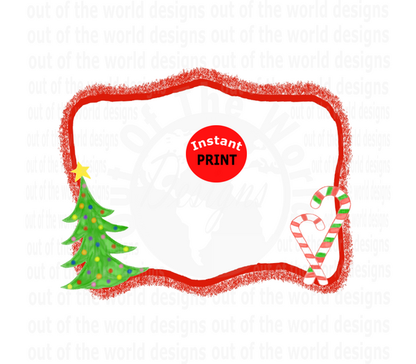 Christmas Frame add your on words or design in the middle (Instant Print) Digital Download