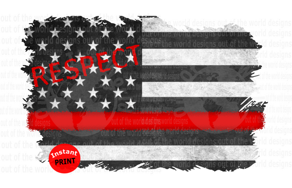 (Instant Print) Digital Download - Red Line Fire FIghter Flag