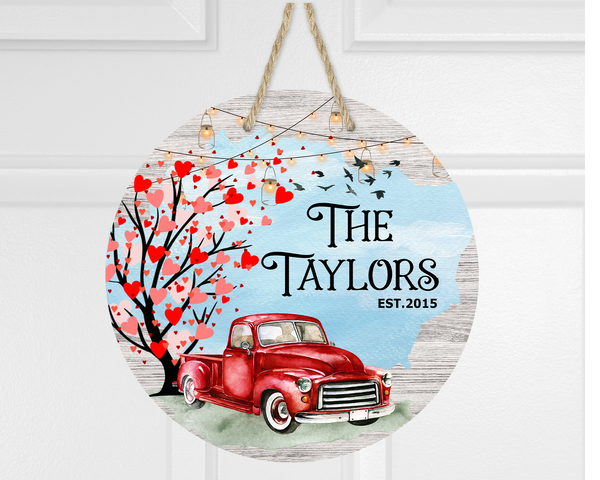 (Instant Print) Digital Download - Personalize yours-  Love red truck round  - Made for our  blanks