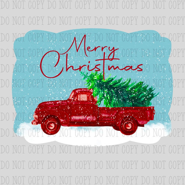 Sublimation print ONLY - Merry Christmas red truck - Made for our MDF sublimation rounds