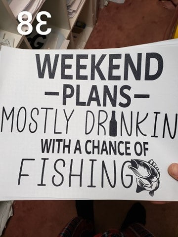 Weekend plans fishing screen print