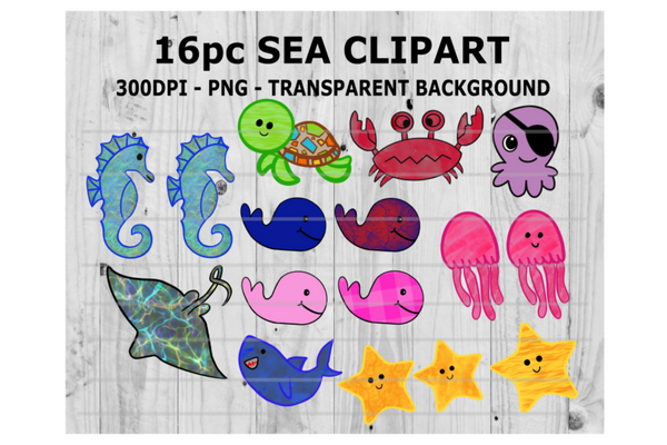 (Instant Print) Digital Download - 16pc Sea Clipart Bundle