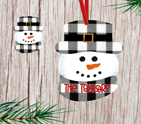 (Instant Print) Digital Download - Black plaid snowman head