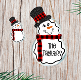(Instant Print) Digital Download - Buffalo plaid snowman with top hat