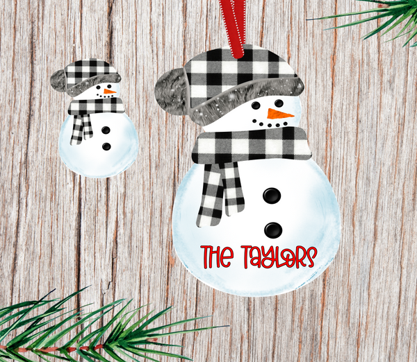(Instant Print) Digital Download - Black plaid snowman with beanie