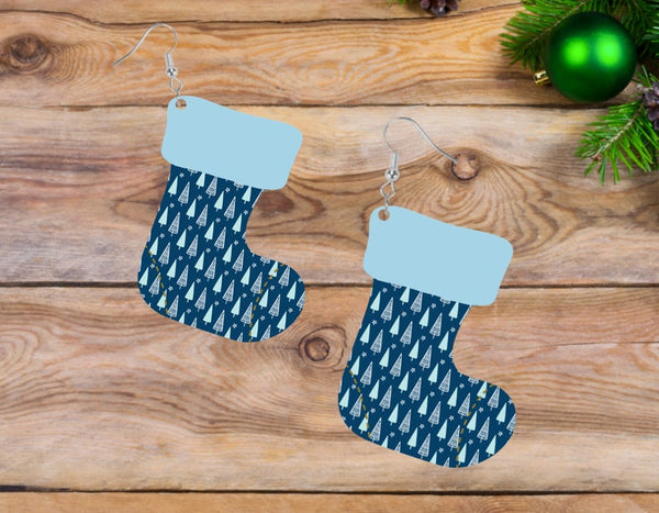 Sublimation print ONLY - Blue tree stocking - Stocking   - Made for our MDF sublimation