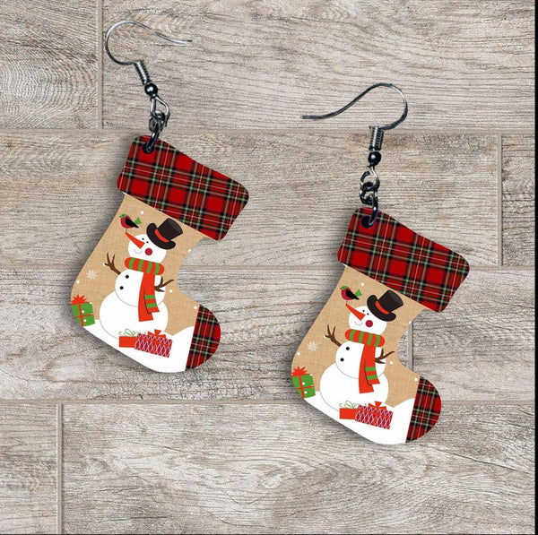 Sublimation print ONLY - Snowman plaid - Stocking   - Made for our MDF sublimation rounds