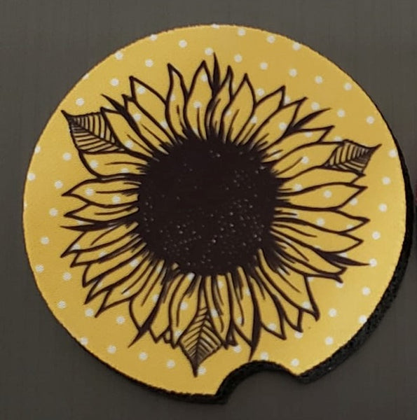 (Instant Print) Digital Download - Sunflower car coaster design