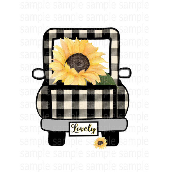 (Instant Print) Digital Download - Sunflower lovely plaid truck