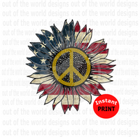 (Instant Print) Digital Download - Sunflower American Flag Peace Sign Design