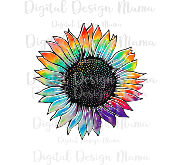 (Instant Print) Digital Download - Tie dye sunflower png clipart