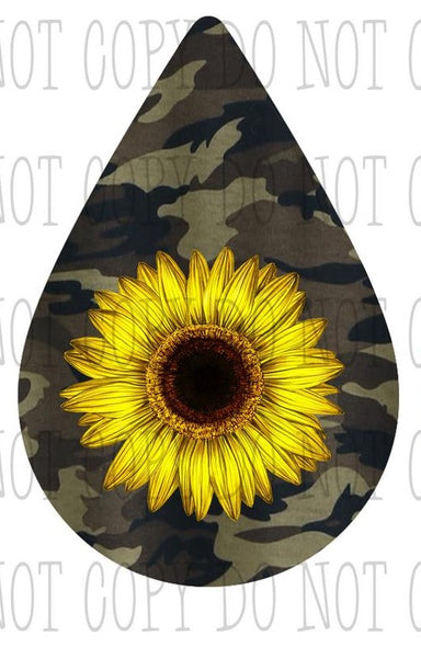 Sublimation print ONLY- Camo sunflower tear drop earring design - size 1.5 / 2 inch / 2.5 inch