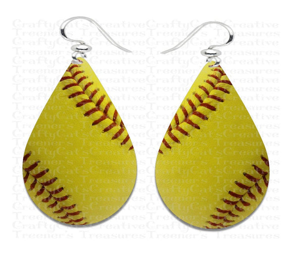 Softball tear drop earring sublimation print -  (you get 8pc) sizes 1.5 / 2 inch / 2.5 inch