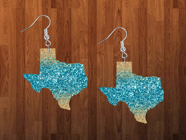 Sublimation print ONLY - Texas state blue and gold glitter - Made for our MDF sublimation rounds