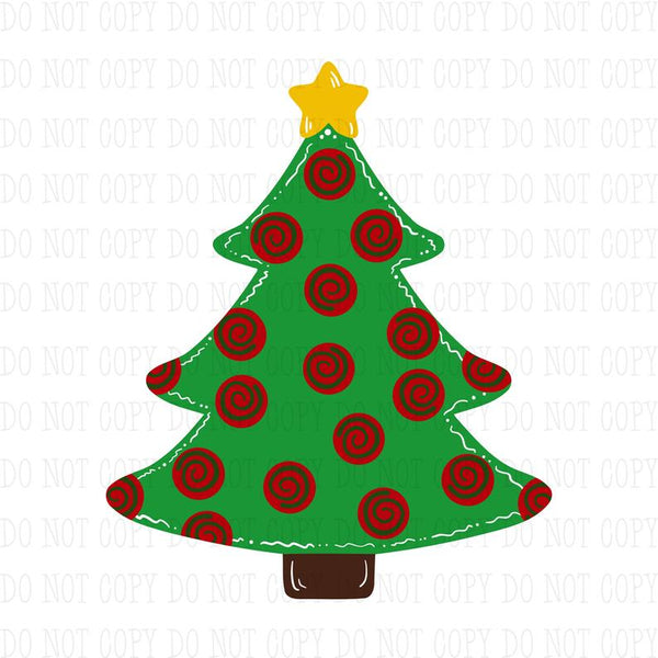 Sublimation print ONLY -Red polka dot tree Tree - Made for our MDF sublimation